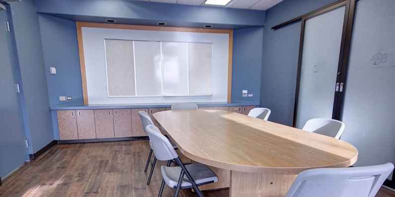 The Board Room has built in whiteboards and a huge table to hold all of your brainstorming sessions.