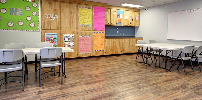 The Northrock room has built in classroom storage.